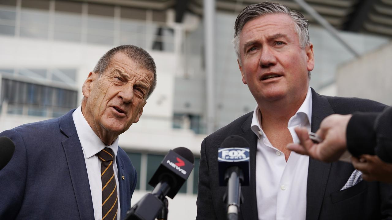 Hawthorn Football Club President Jeff Kennett (left) and Collingwood Football Club President Eddie McGuire are taking aim