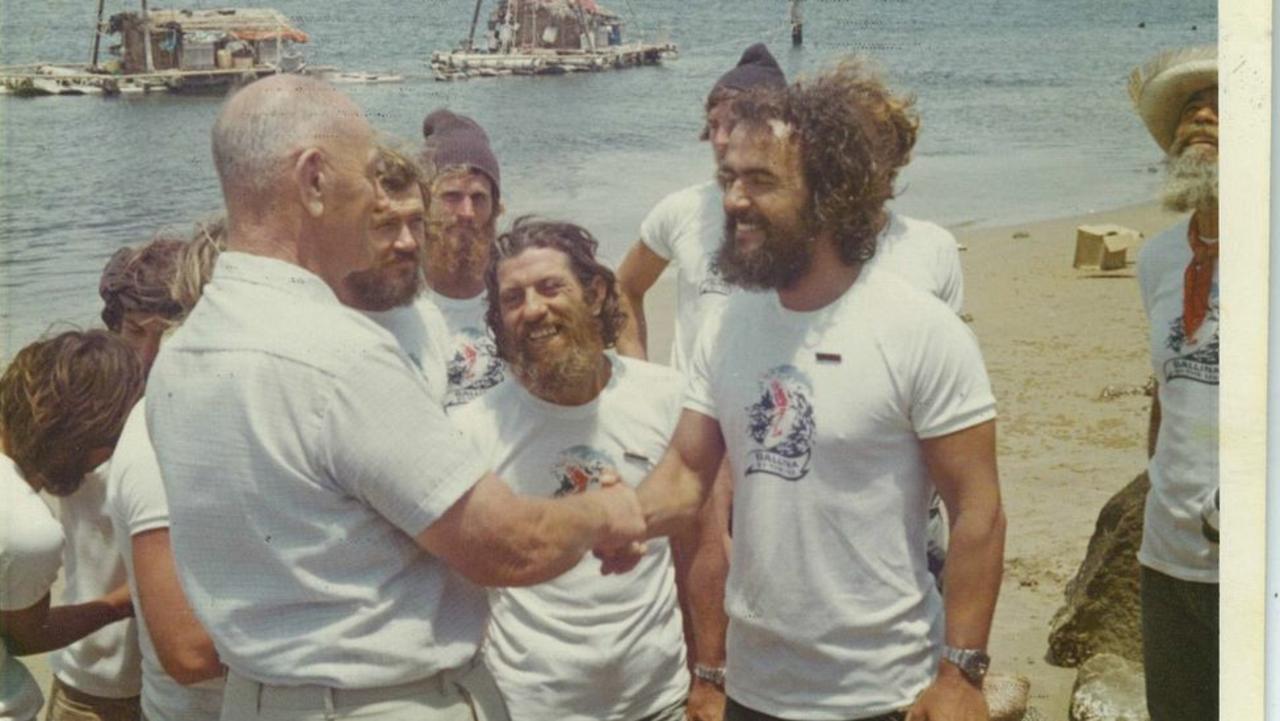 Vital Alsar and Las Balsas crew arriving in Ballina, on November 21, 1973.