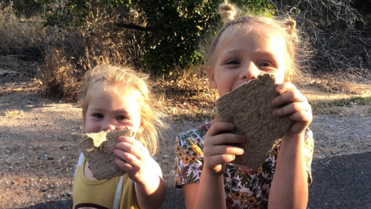 Lexie, Sadie and Laikie with their paper pocket found at Canoe Point.