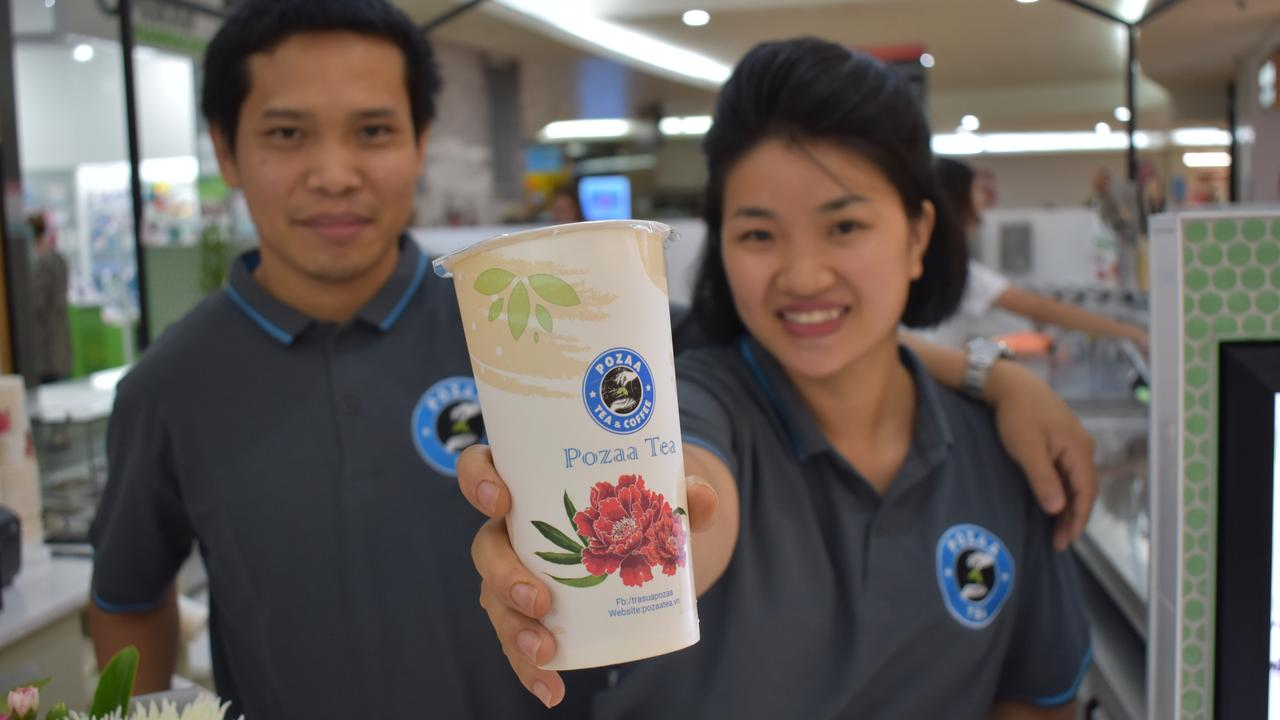 Pozza Tea owners Van Nguyen and Ha Hoang at the first Australian store, which opened in Mount Pleasant on Thursday September 17. Picture: Zizi Averill