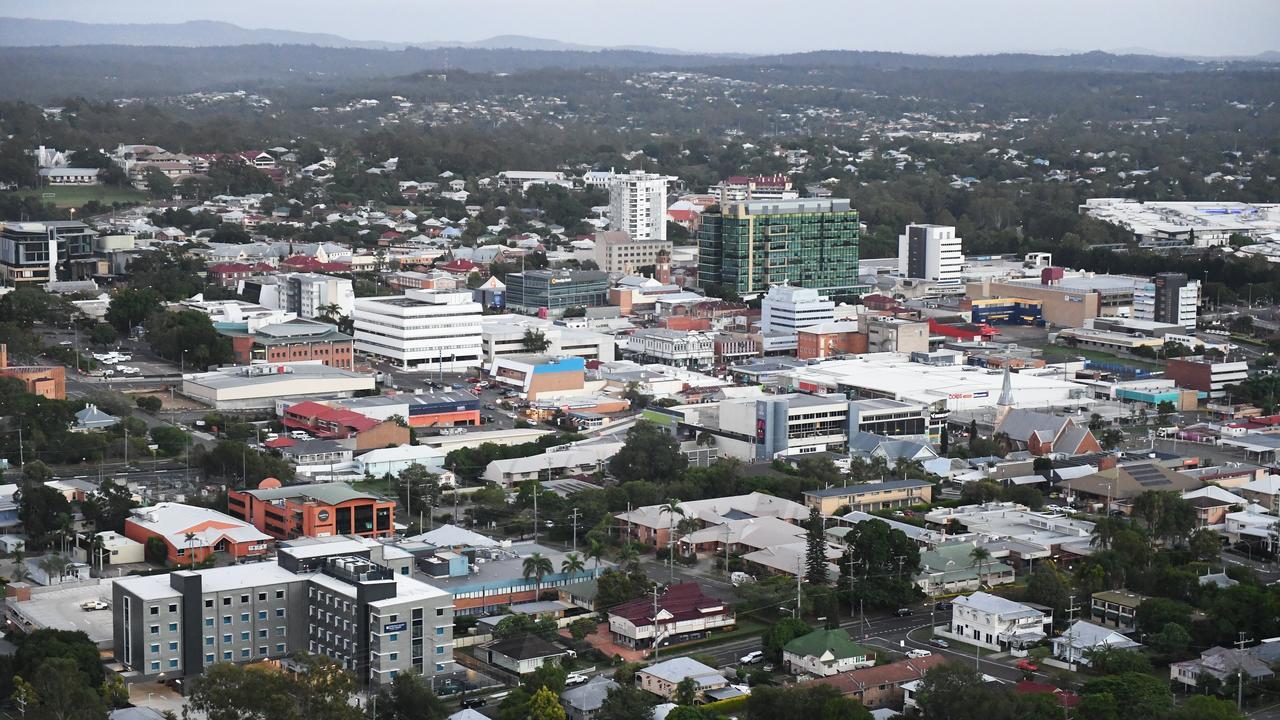 Aerial view of the Ipswich CBD.