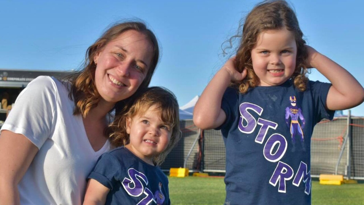 Pascalle, Emily and Gabby Welch at Sunshine Coast Stadium's last NRL game of the season where Melbourne Storm took on Wests Tigers.