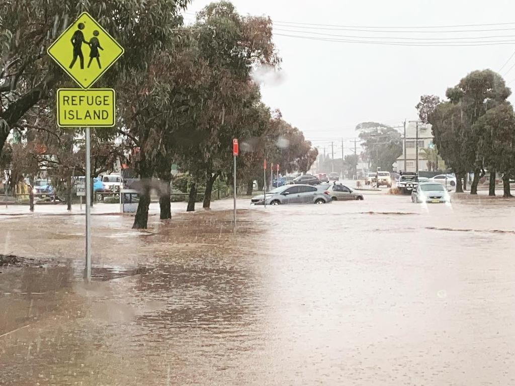 Broken Hill endured flash flooding after 10-20mm of rain fell in a very short period. Pic: Sarah McConnell via Twitter @SarahJMcConnell.