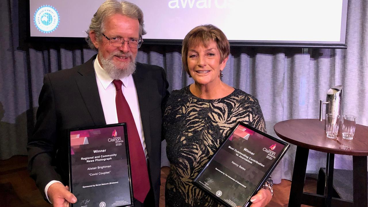 Former Chronicle photographer Alistair Brightman with former editor Nancy Bates at the Queensland Clarion Awards.
