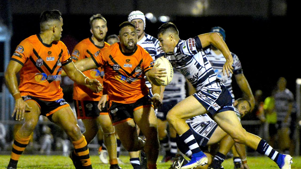Townsville Brothers defeated Wests Tigers 24-22 in the Rugby League Mackay & District A-Grade major semi-final. Townsville's Tom Chester runs the ball. Photo: Callum Dick