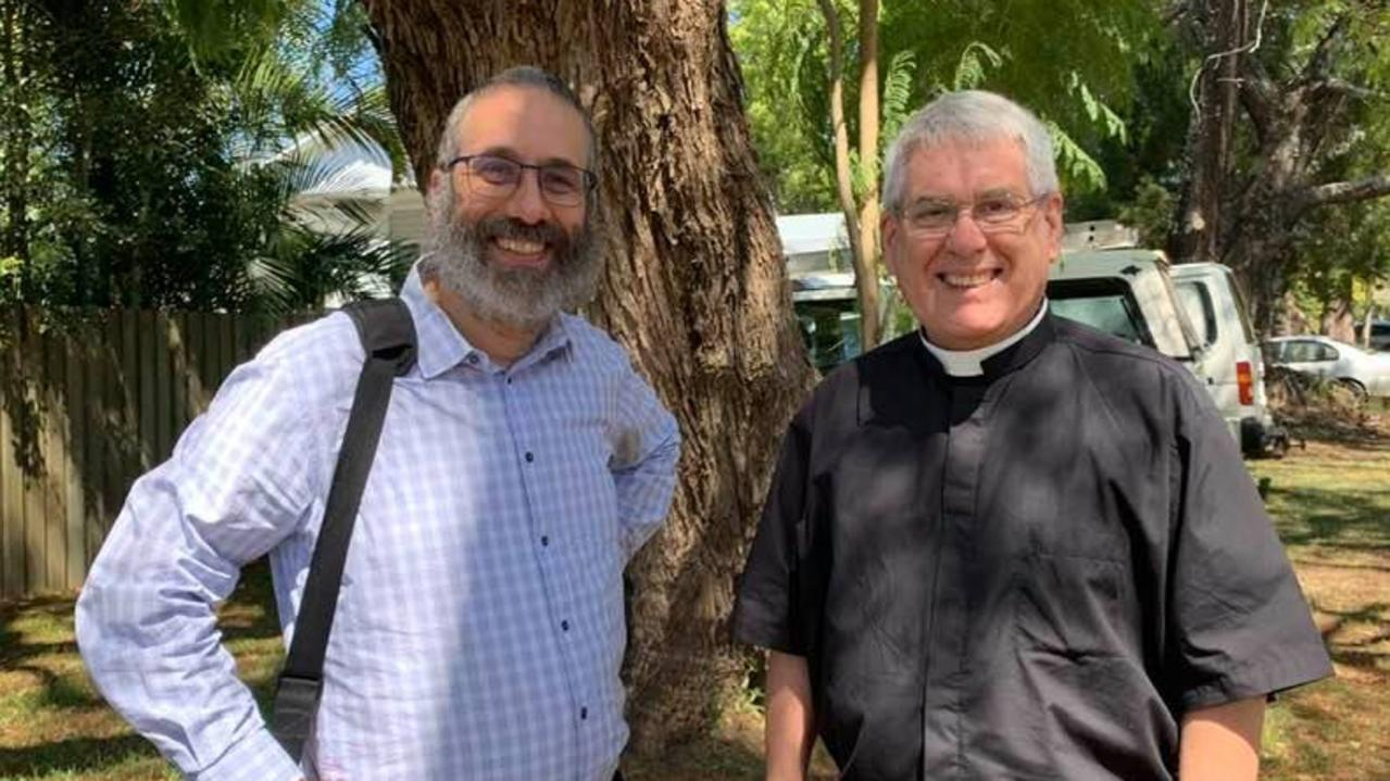 Greg Jenks and Rabbi Zalman Kastel AM, national director of the Together for Humanity program joined a group of community members at Christ Church Cathedral in Grafton on Monday, September 21, 2020.