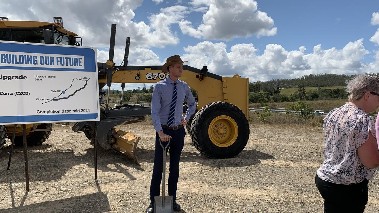 Transport Minister Mark Bailey helped turn the first sod of dirt on the bypass last week.