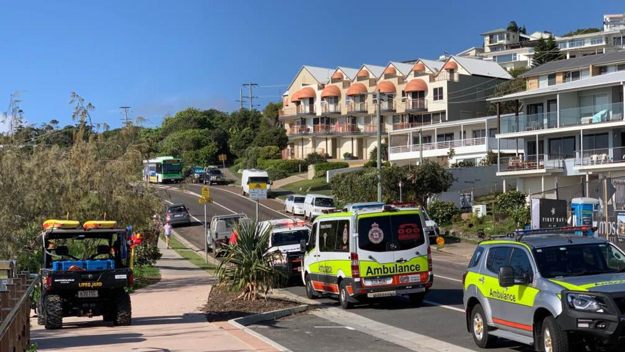 Emergency services on scene at Jubilee Esplanade, Coolum Beach where a body was reportedly found Monday morning.