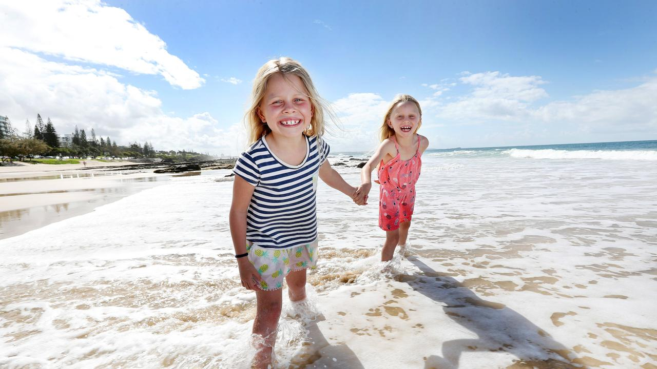 Macie and Asha Brindley, 7, exploring the Sunshine Coast. Picture: Tara Croser.