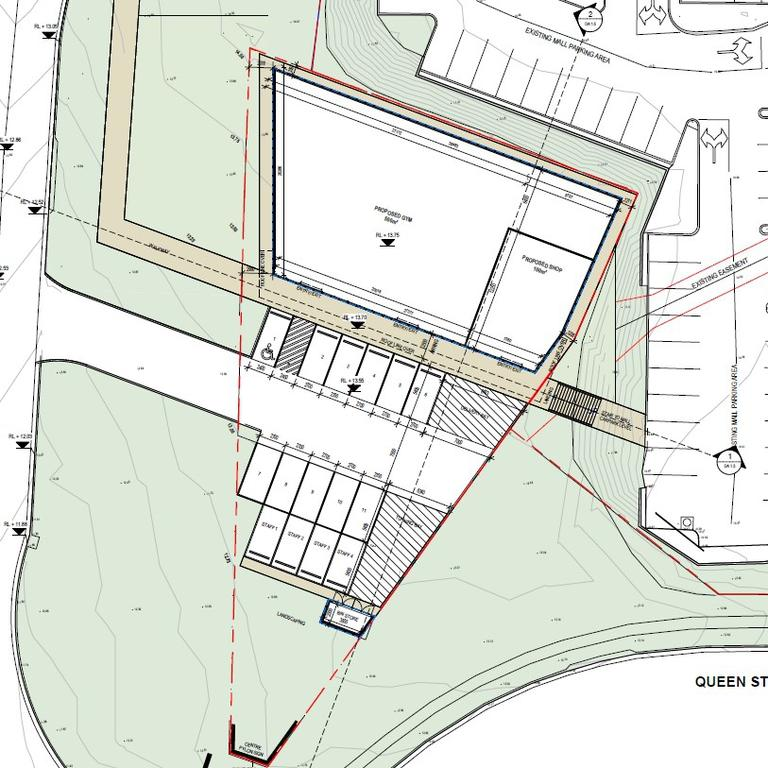 Proposed plans for the gym and shop layout with the carpark.