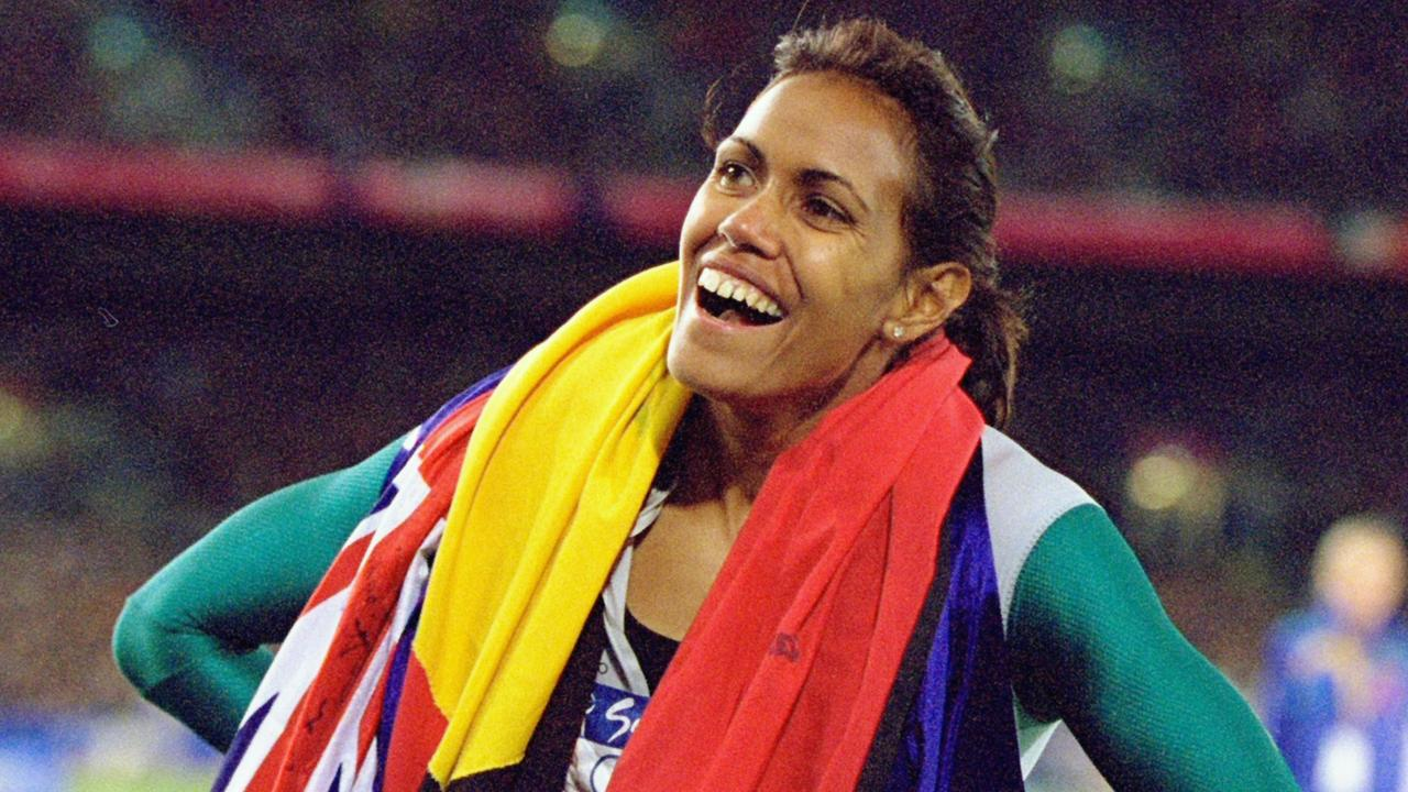 Cathy Freeman after her famous victory in the 400m at the Sydney Olympics.