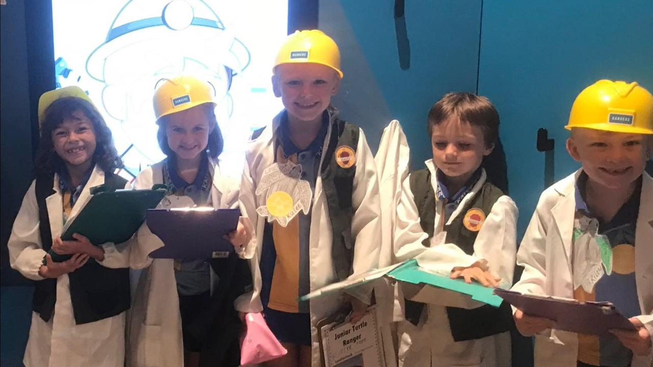 HARD AT WORK: Kalkie State School students Emily Carr, Amelia Bannerman, Kalee Philpott, Trystan Lucas and Riley Hastie.