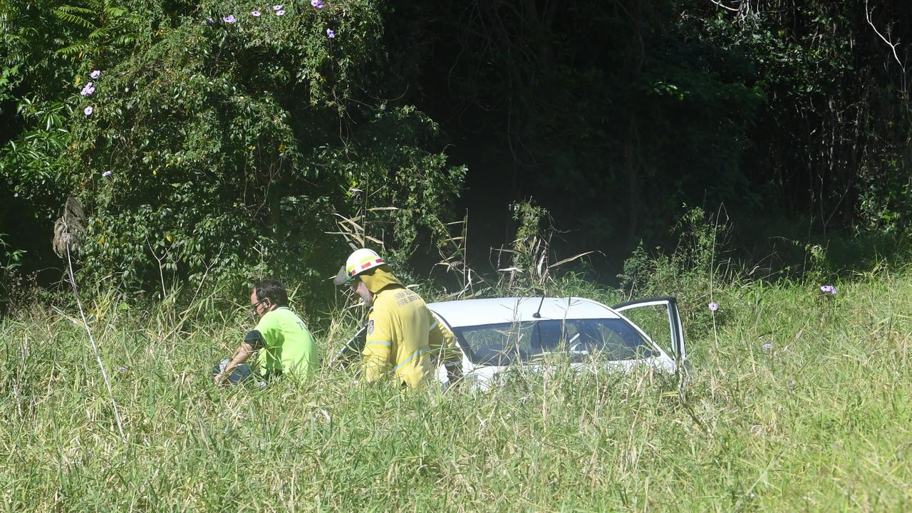Authorities were called to a single vehicle incident where a car lost control and went down an embankment near Palmers Channel bridge. Photo: Adam Hourigan
