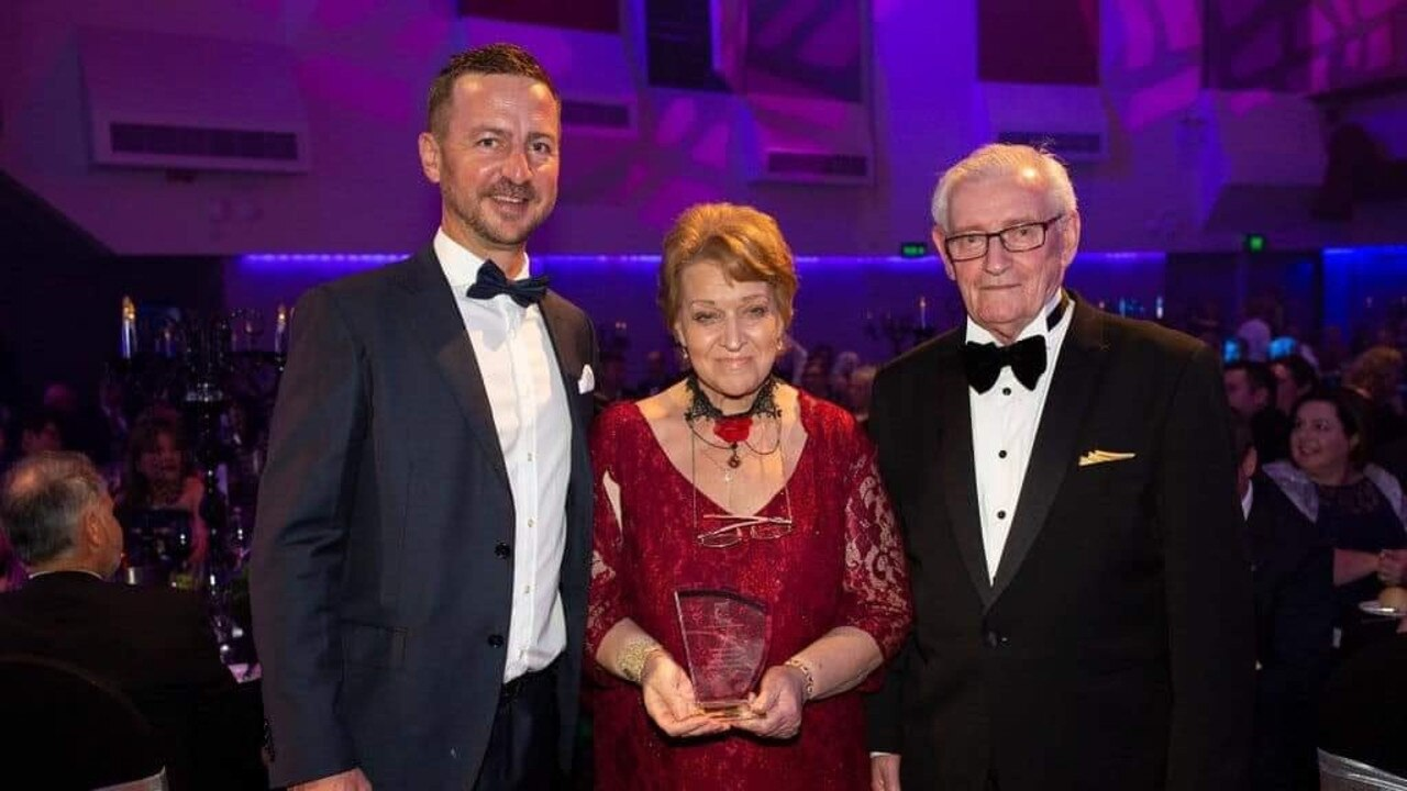 The late Gemma D'Aubbonnett pictured with Trent Quinn (left) and husband Peter at the Ipswich Chamber of Commerce and Industry Business Excellence Awards in 2018.
