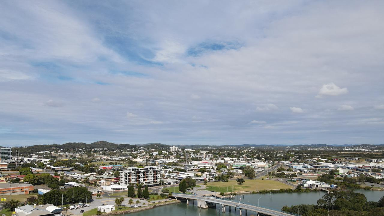 Goondoon St Gladstone and Gladstone Harbour taken from a DJI Mavic Air 2 drone.