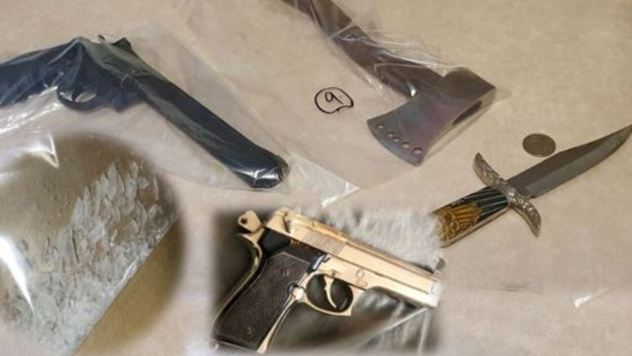 Weapons and drugs seized during outlaw from a gang and associates around Gympie and the Sunshine Coast.