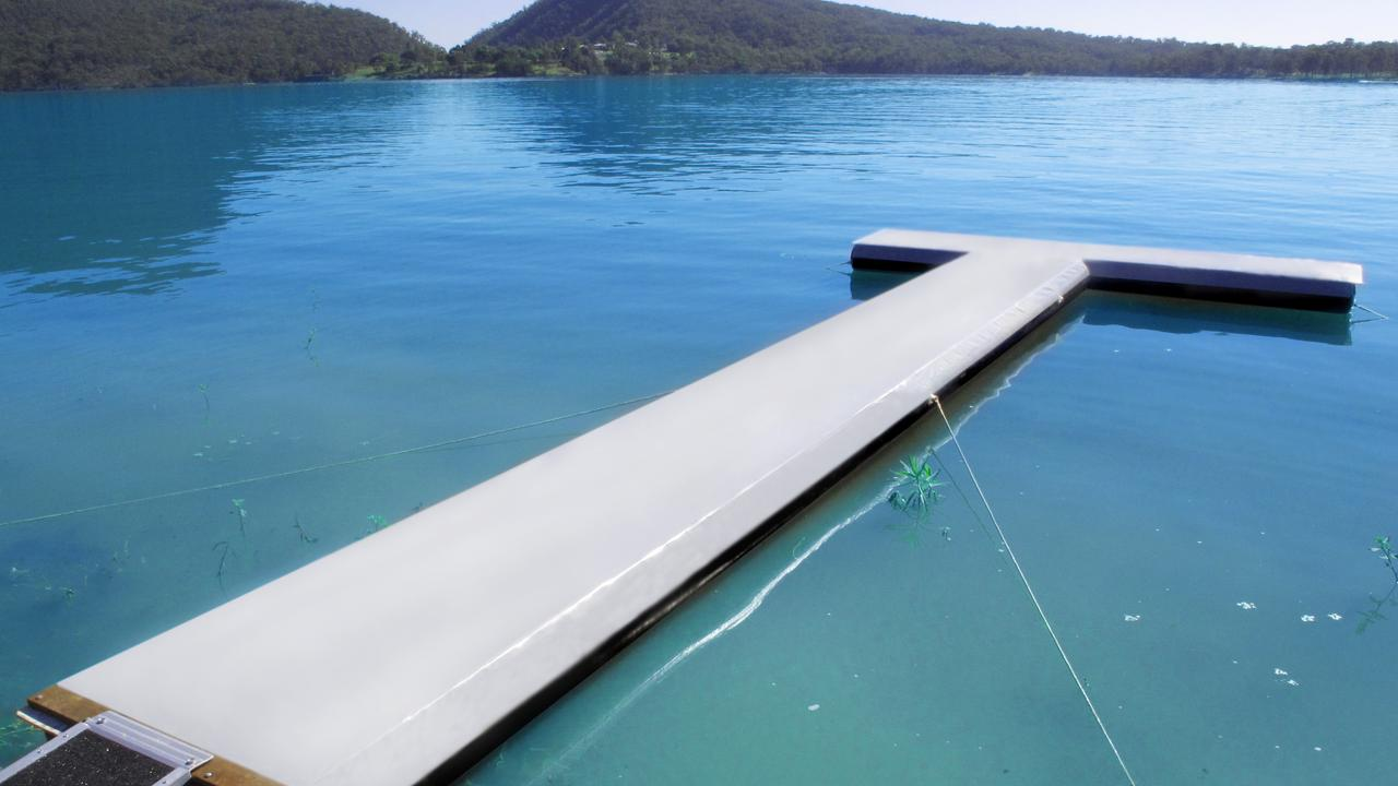 This portable floating pontoon was launched by Big Sky Innovations. One of Hervey Bay's election candidates would like to see a permanent floating pontoon and walkway built along the foreshore.