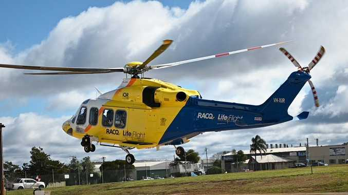 Patient airlifted to hospital with moderate head injuries