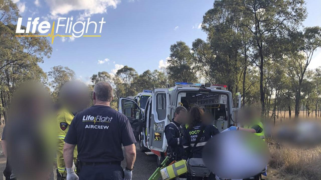 The young woman was treated at the scene by Queensland Ambulance Service (QAS) paramedics for severe injuries to her head and shoulder. Photo/Life Fight.