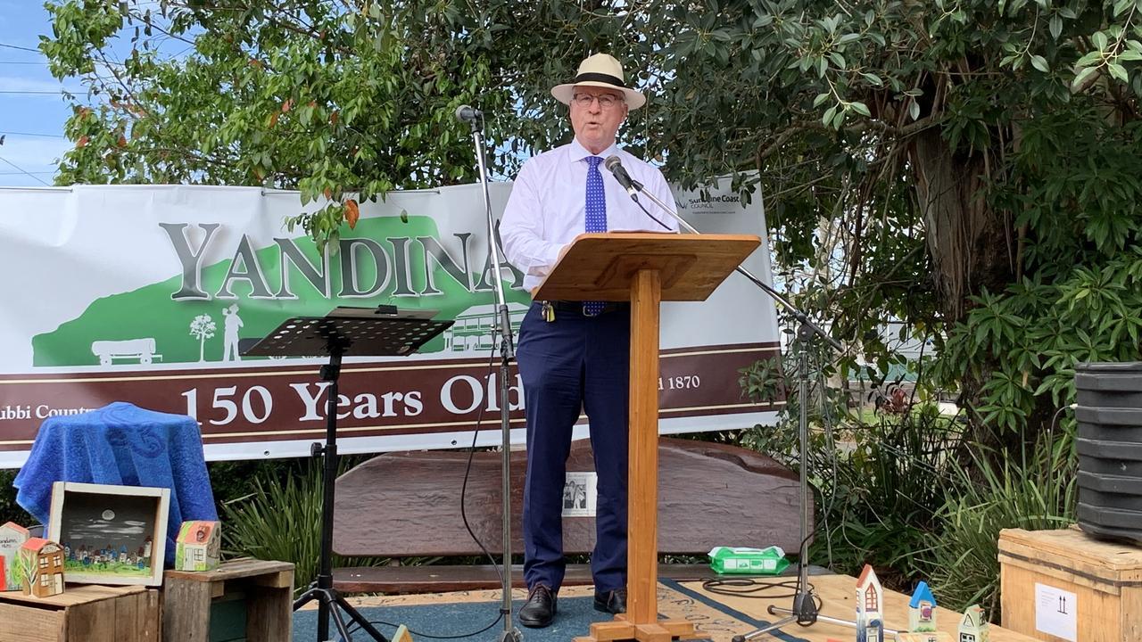 Mayor Mark Jamieson speaks at celebrations of Yandina's 150th birthday.
