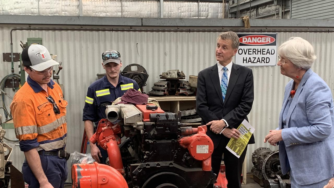 Fourth year apprentices Tim Borg and Shawn Ingram meet with CQUni Vice-Chancellor Nick Klomp and Mayor Margaret Strelow on the Canning St campus