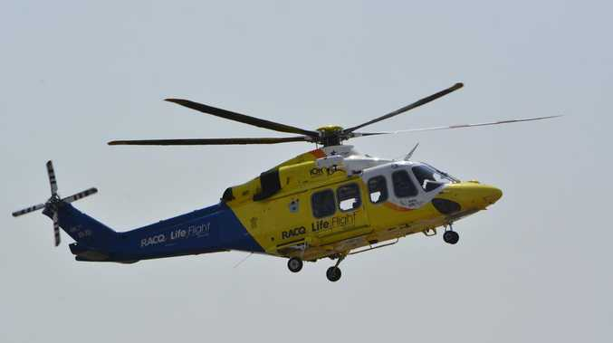 Rescue helicopter rushes injured rider to hospital