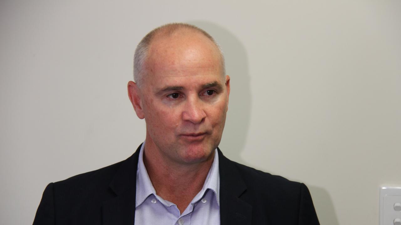 Glenn Butcher speaking this morning about Gladstone becoming a regional quarantine hub for returned Australian travellers. Picture: Rodney Stevens