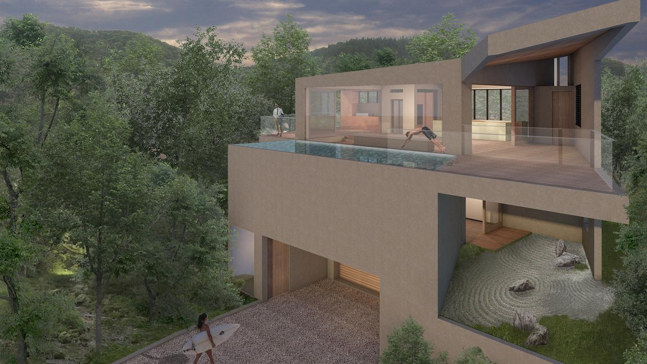 A 3D design of the Seaview Tce property in Sunshine Beach. Picture: Matthew Noffke Architects