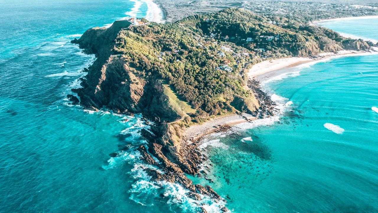 Byron Bay (Wategos/Lighthouse) from above.