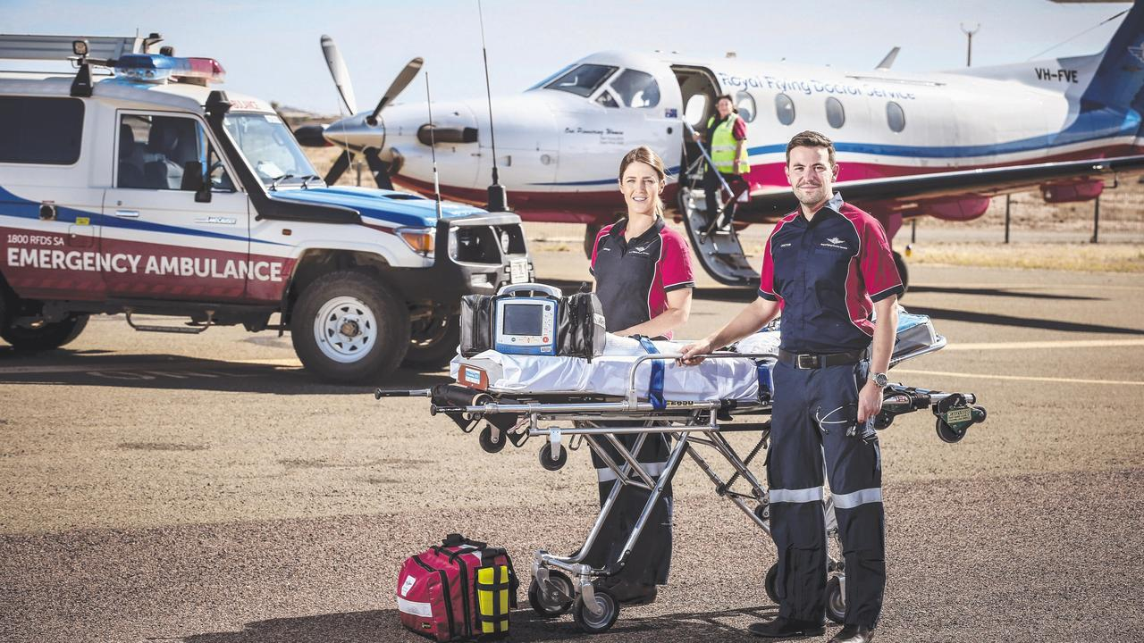 Royal Flying Doctor Service nurse Caitlyn Keller and Dr Dustin Mattie on the tarmac.