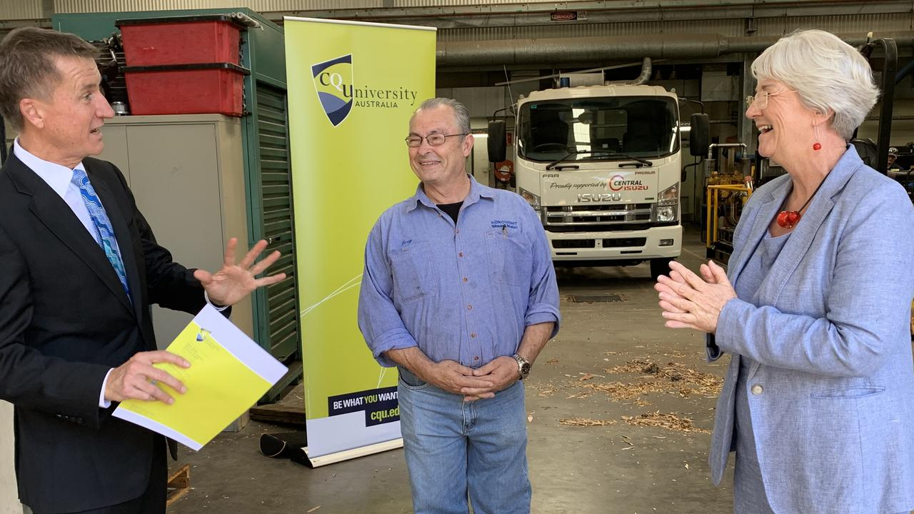 Vice-Chancellor Nick Klomp, Adnought Sheet Metal's Greg Adams and Mayor Margaret Strelow call on the State Government to fund a new Centre for Excellence on the North Rockhampton CQUni campus