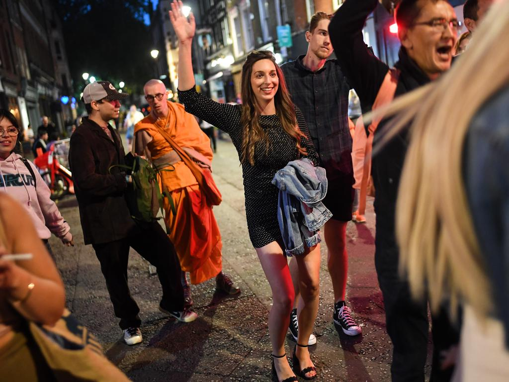 "People out dancing in London before the ""rule of six"" came into effect banning gatherings of more than six people. Picture: Peter Summers/Getty Images."