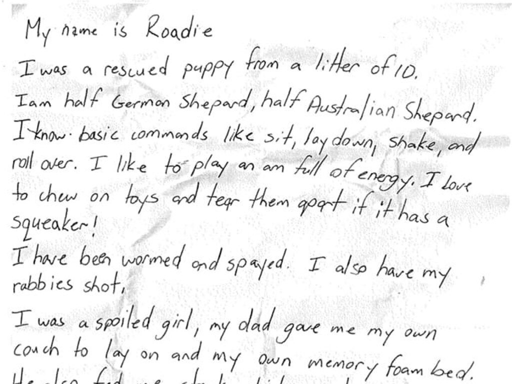 A heartbreaking note was found attached to the dog's collar. Picture: Facebook