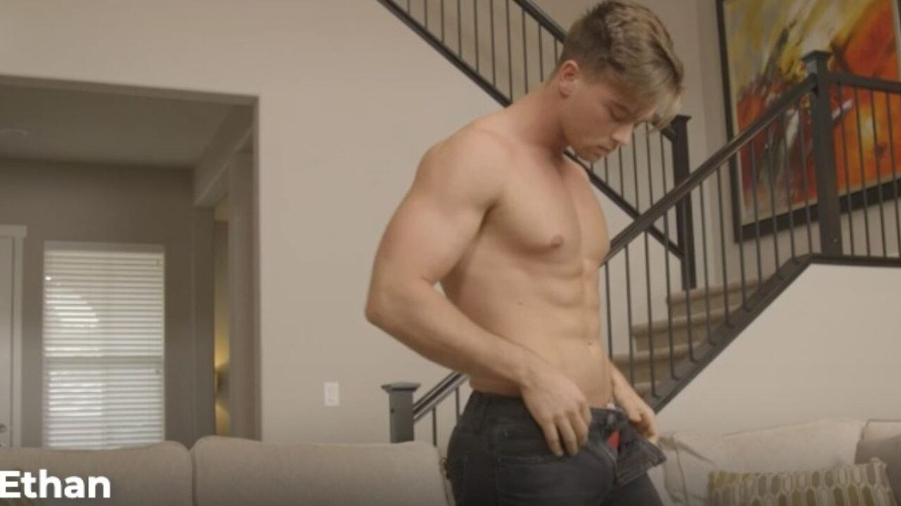 A scene from one of Noah's porn videos, working under the name 'Ethan'. Picture: Supplied