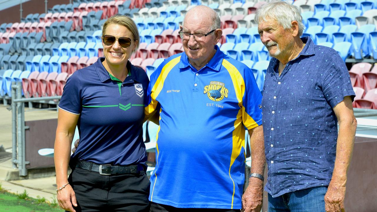 NRL game development manager Renae Kunst, Souths stalwart Doug Knight and Souths first aid volunteer Kevin Bathe. Photo: Callum Dick