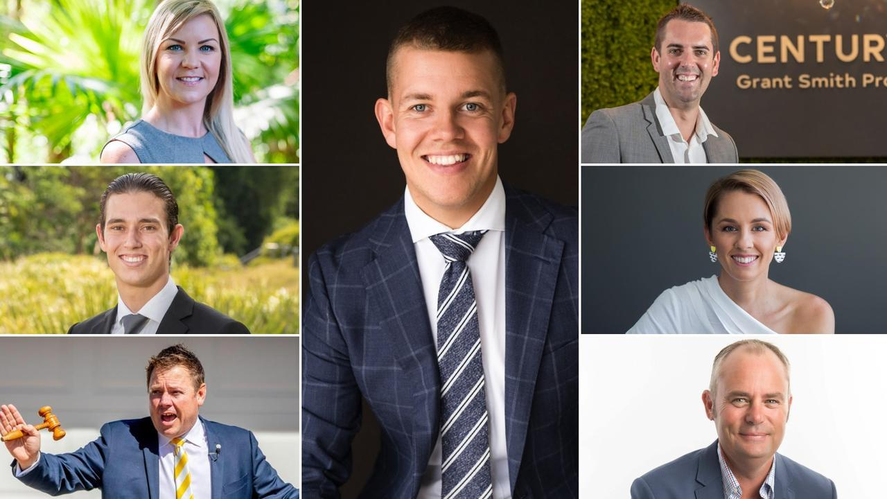 (Clockwise from top left) Kristy Cannon, Jordan Barden, Grant Smith, Jess Ruskin, Grant Whisker, Brent Higgins and Darren Martens are in the lead to be named the Sunshine Coast's best real estate agent for 2020. Photos: Supplied