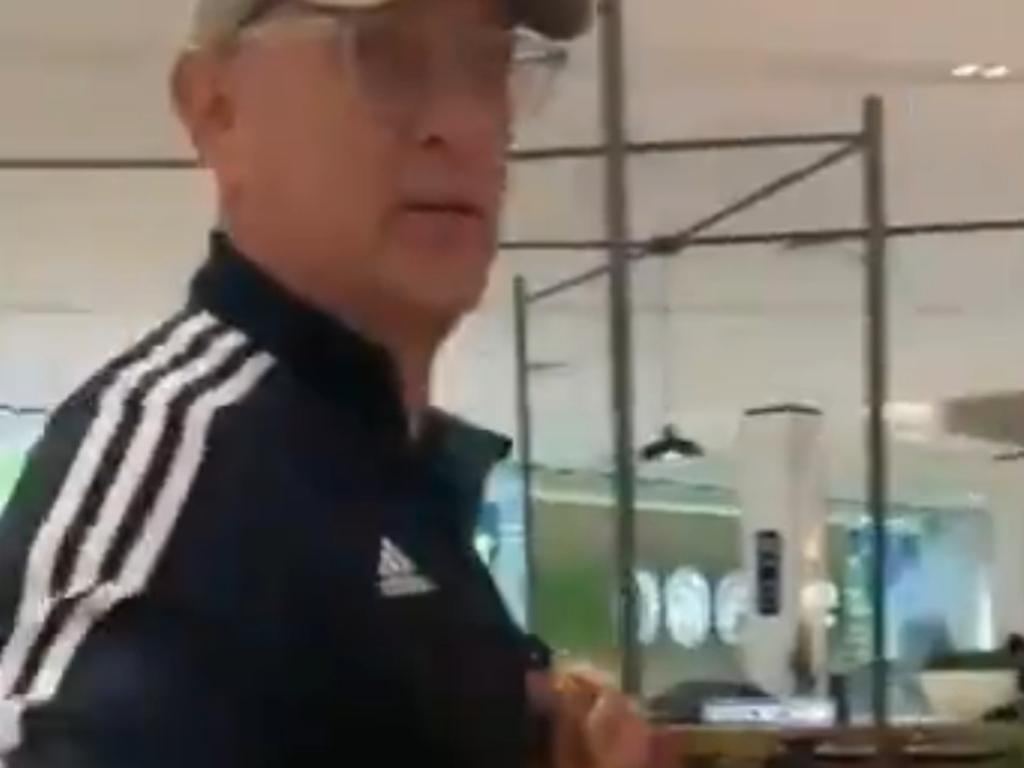 Tom Hanks seen visiting Pacific Fair shopping centre on the Gold Coast. Picture: 9 News