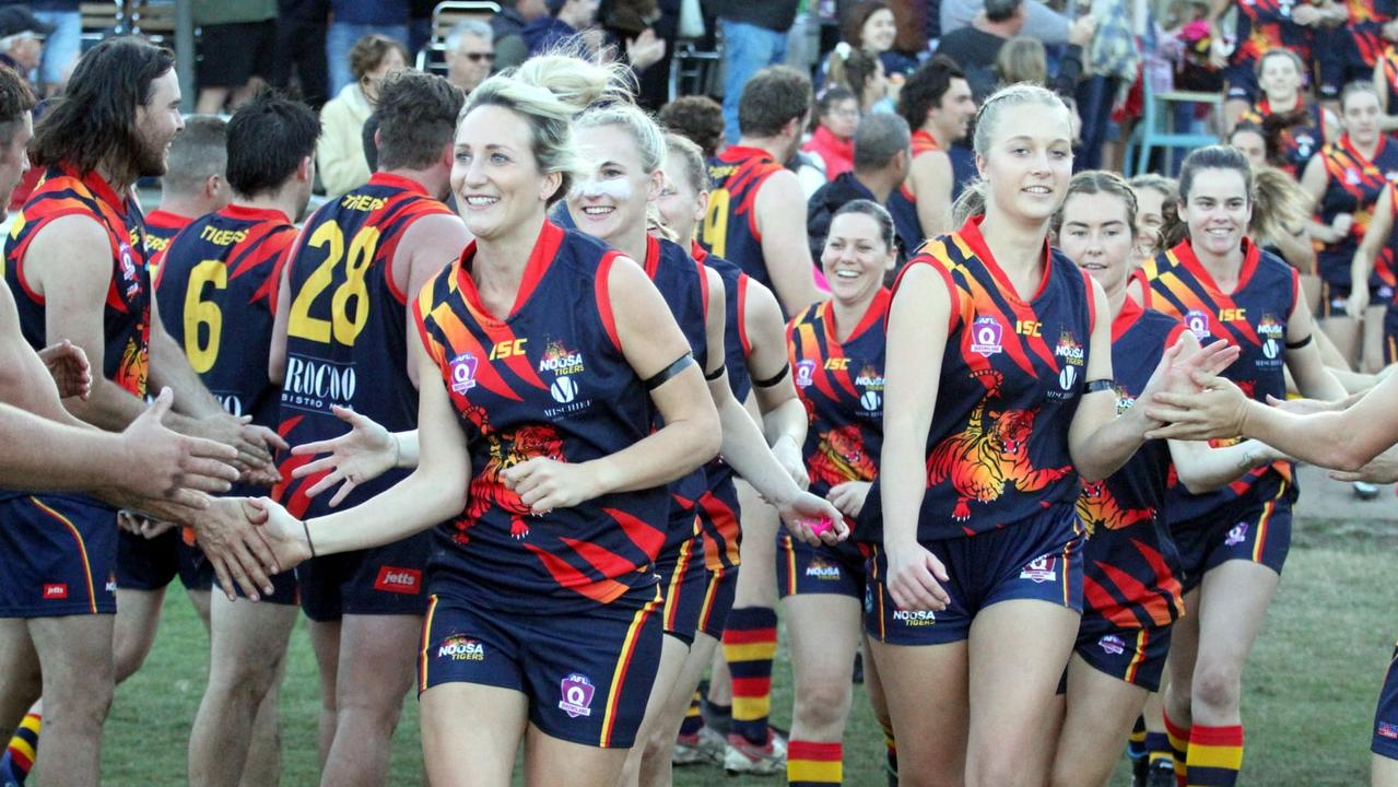 Noosa Tigers womens' team ready to run on for the first grand final on Sunday. Picture: Craig Slaney Photography.