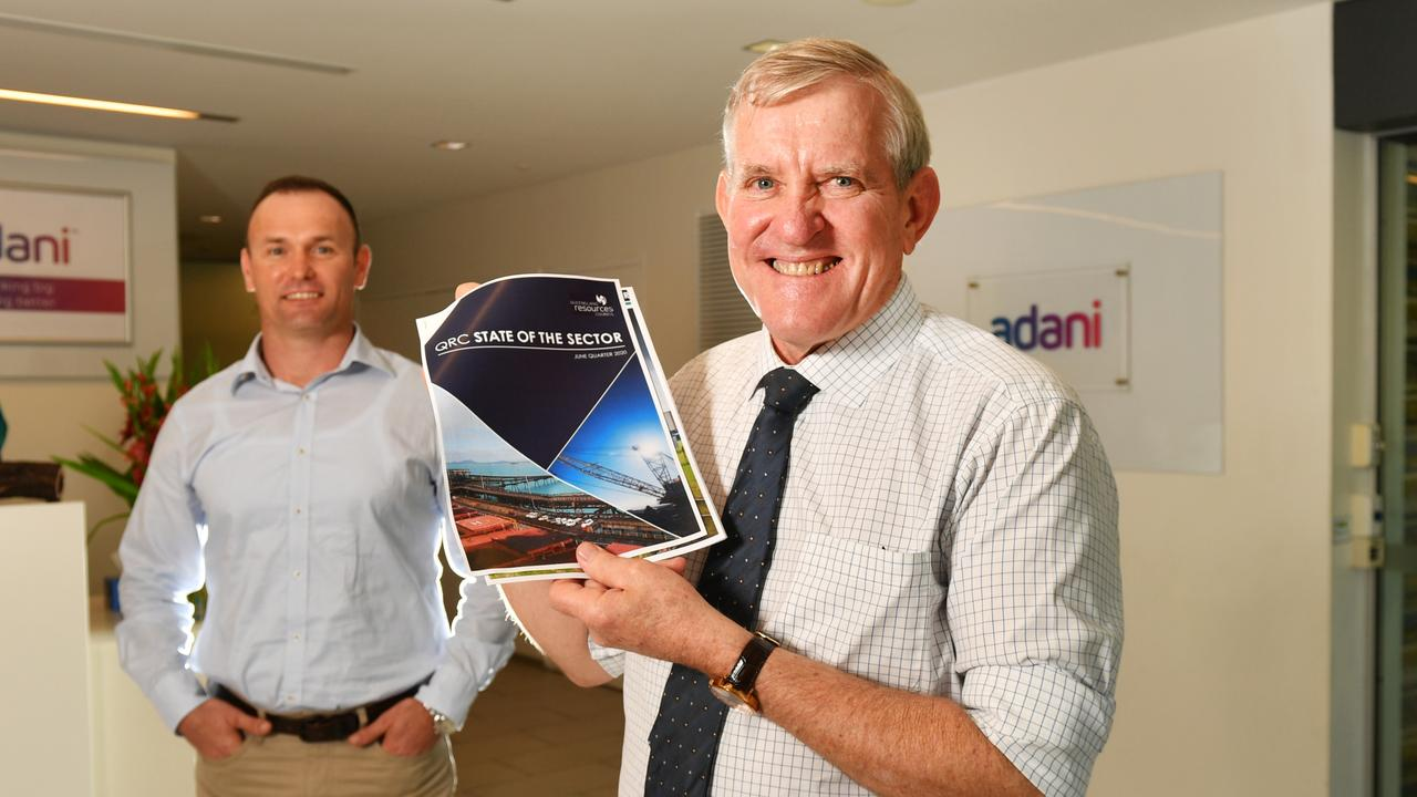 Adani CEO David Boshoff and Queensland Resources Council Chief Executive Ian Macfarlane with the release of the State of the Sector report. Picture: Alix Sweeney