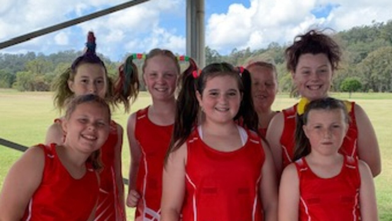 Iluka Starlets during Lower Clarence Netball Association's Crazy Hair and Sock Day.
