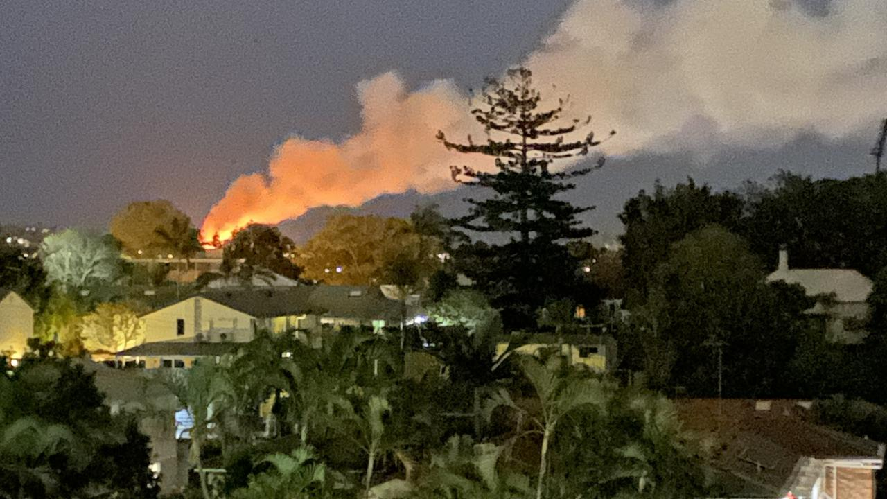 Fire has engulfed a childcare centre next door to Newmarket State School. Picture: Natasha Bita.