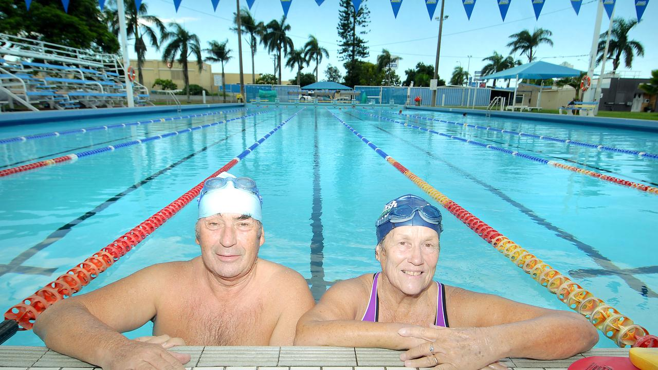 Geoff Robinson and Jennie Mack enjoy the Memorial Swim Centre pool.