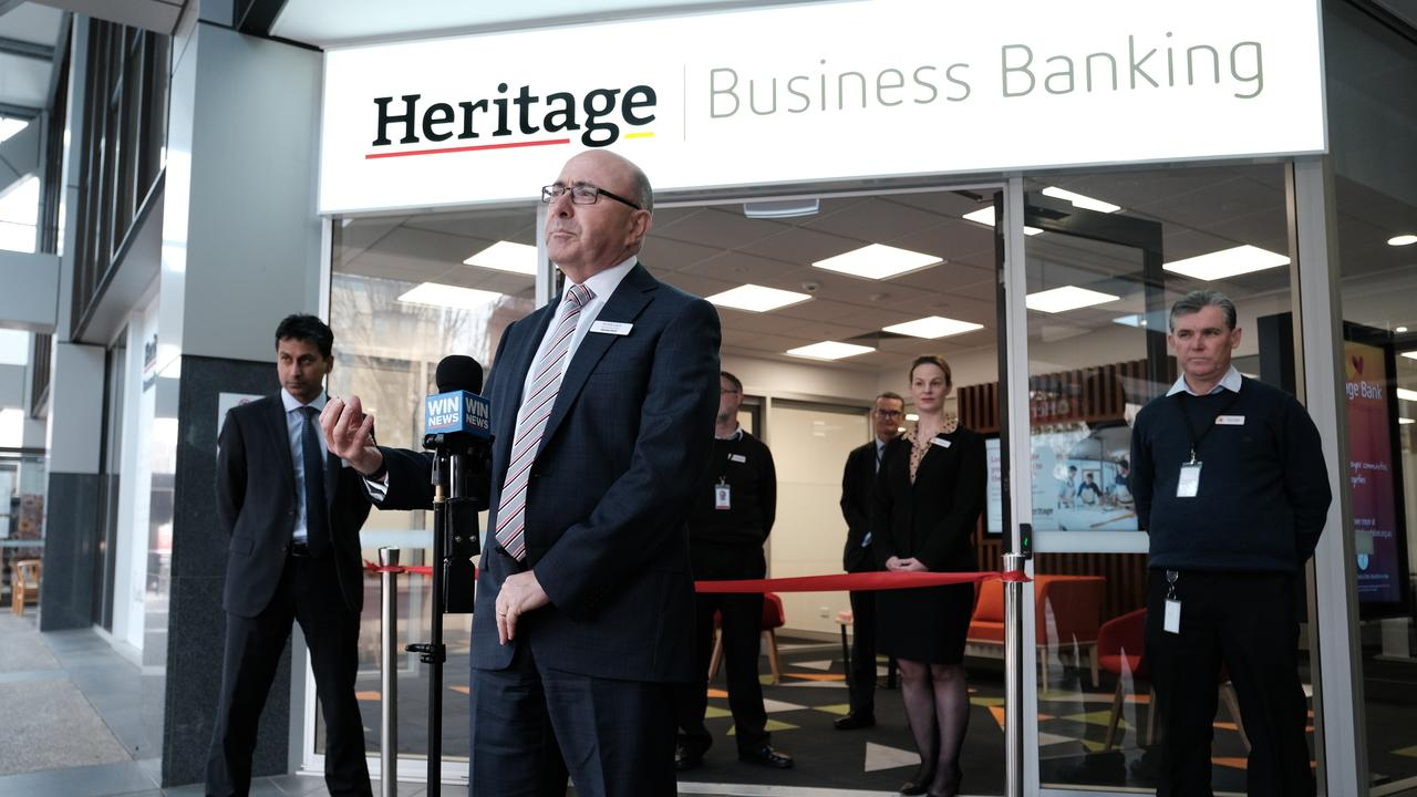 Heritage Bank boss Peter Lock opens a new business banking centre in Toowoomba.