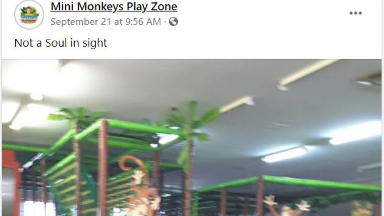 There was no one to be seen at Mini Monkeys Play Zone on the first day of school holidays on Monday.