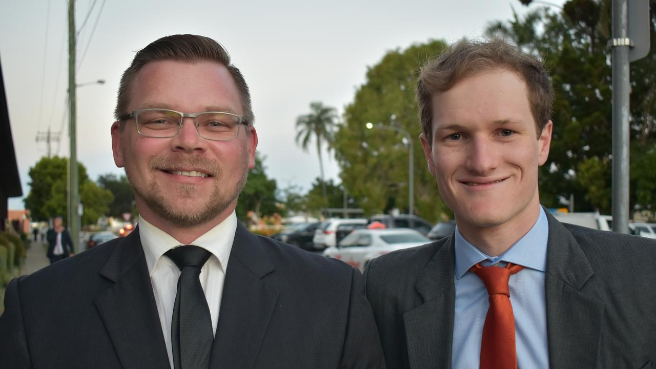 KCB representatives Luke Palmen and Nicholas Kent at the 2020 Queensland Mining Awards at the MECC, Mackay, on Wednesday September 23. Picture: Zizi Averill