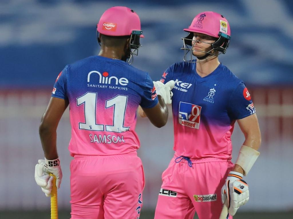 Smith and Sanju Samson put on 121 runs for the second wicket in 9.2 overs.