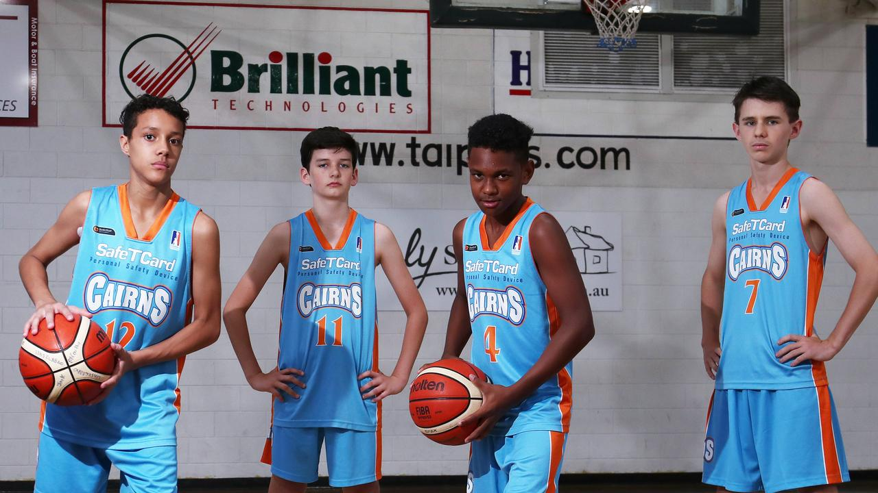 Cairns Stingers Under 14s players Orlando Geary and Shamus Fitzgerald and Cairns Marlins Under 14s players Noah Kirk and Ben Dempsey are ready to take on the state's best when they play in the Queensland junior basketball championships. PICTURE: BRENDAN RADKE