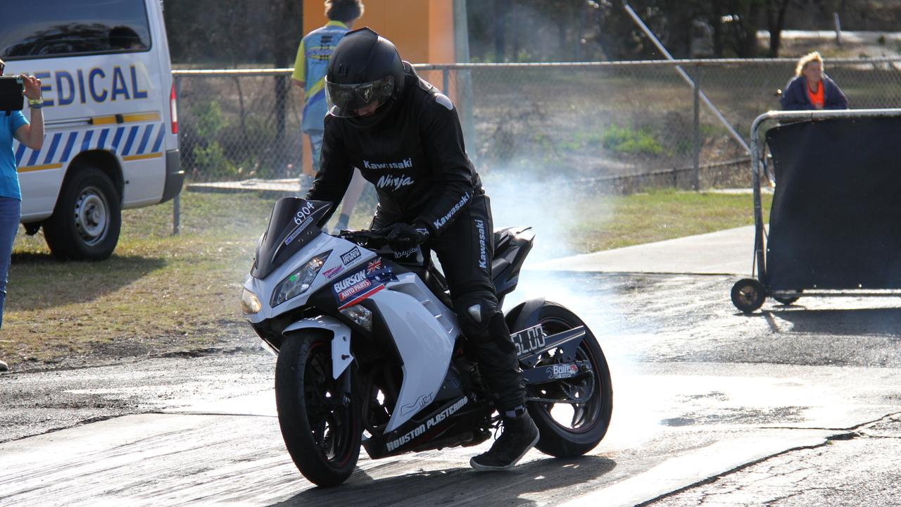 Gladstone's Charlie Houston warming up all of his tyre on his Junior Drag Bike at the CQDRA championship round five. Picture: Rodney Stevens