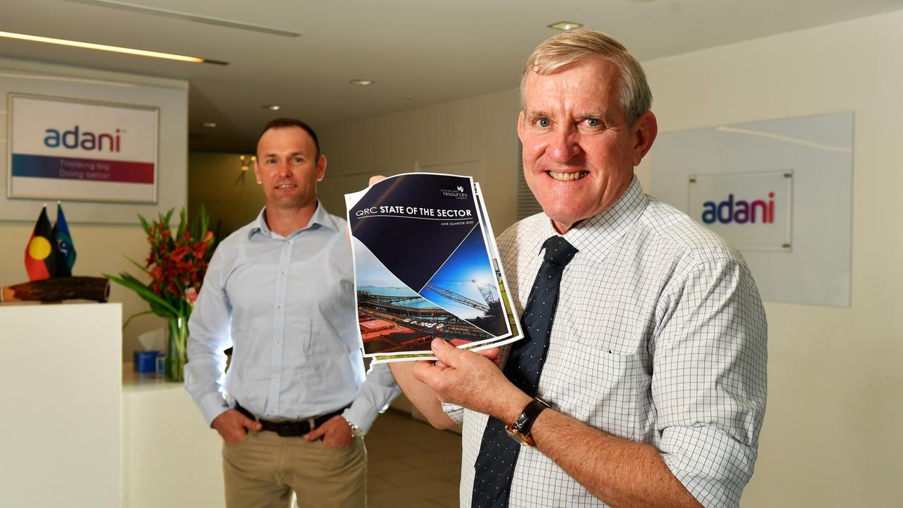 Adani CEO David Boshoff and Queensland Resources Council Chief Executive Ian Macfarlane with the release of the State of the Sector report this week. Picture: Alix Sweeney