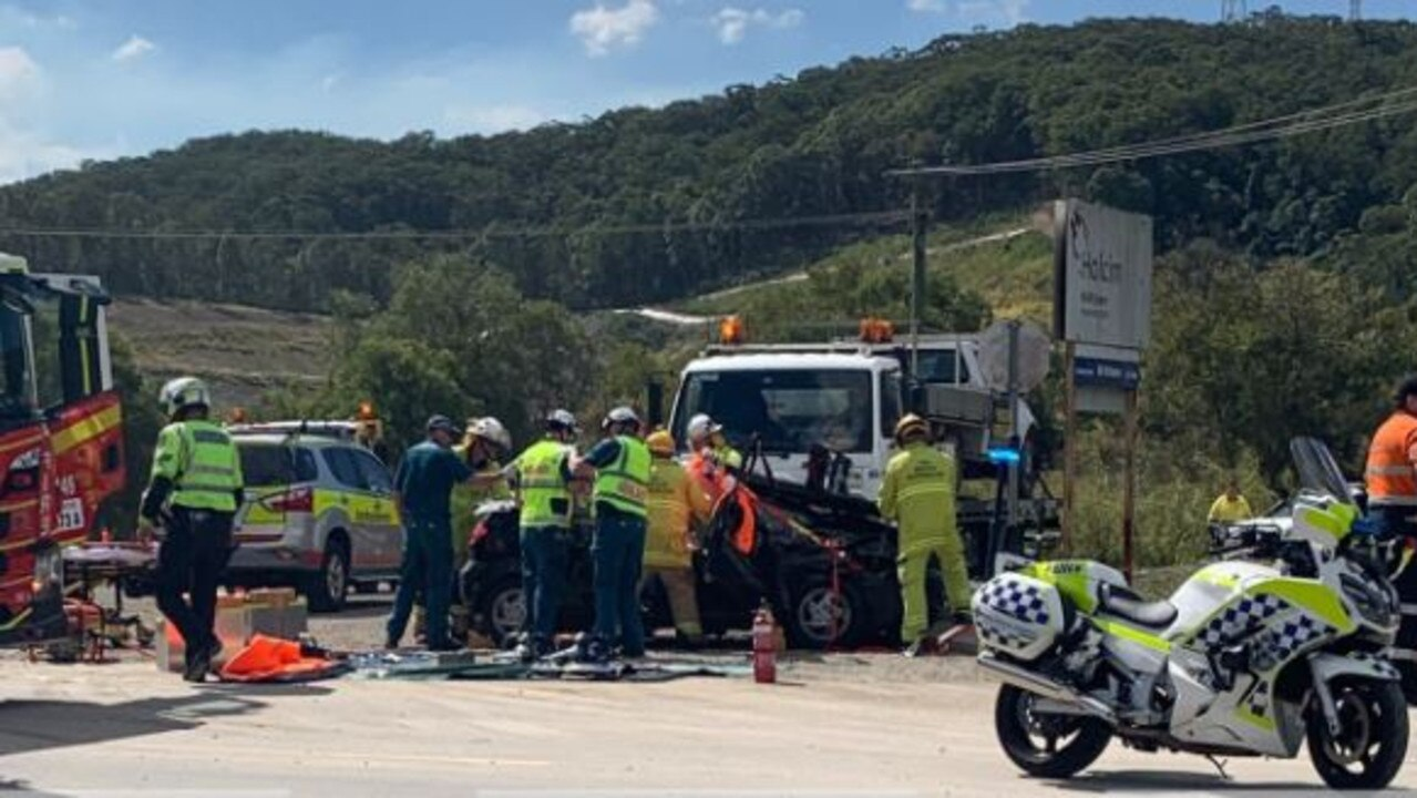 One person was freed from the wreckage of a truck and car crash at Bli Bli on August 31. Photo: WIN News Sunshine Coast
